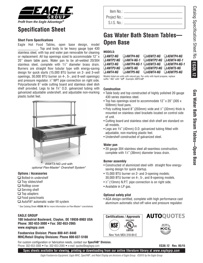 Gas Water Bath Steam Tables Open Base - Eagle group steam table