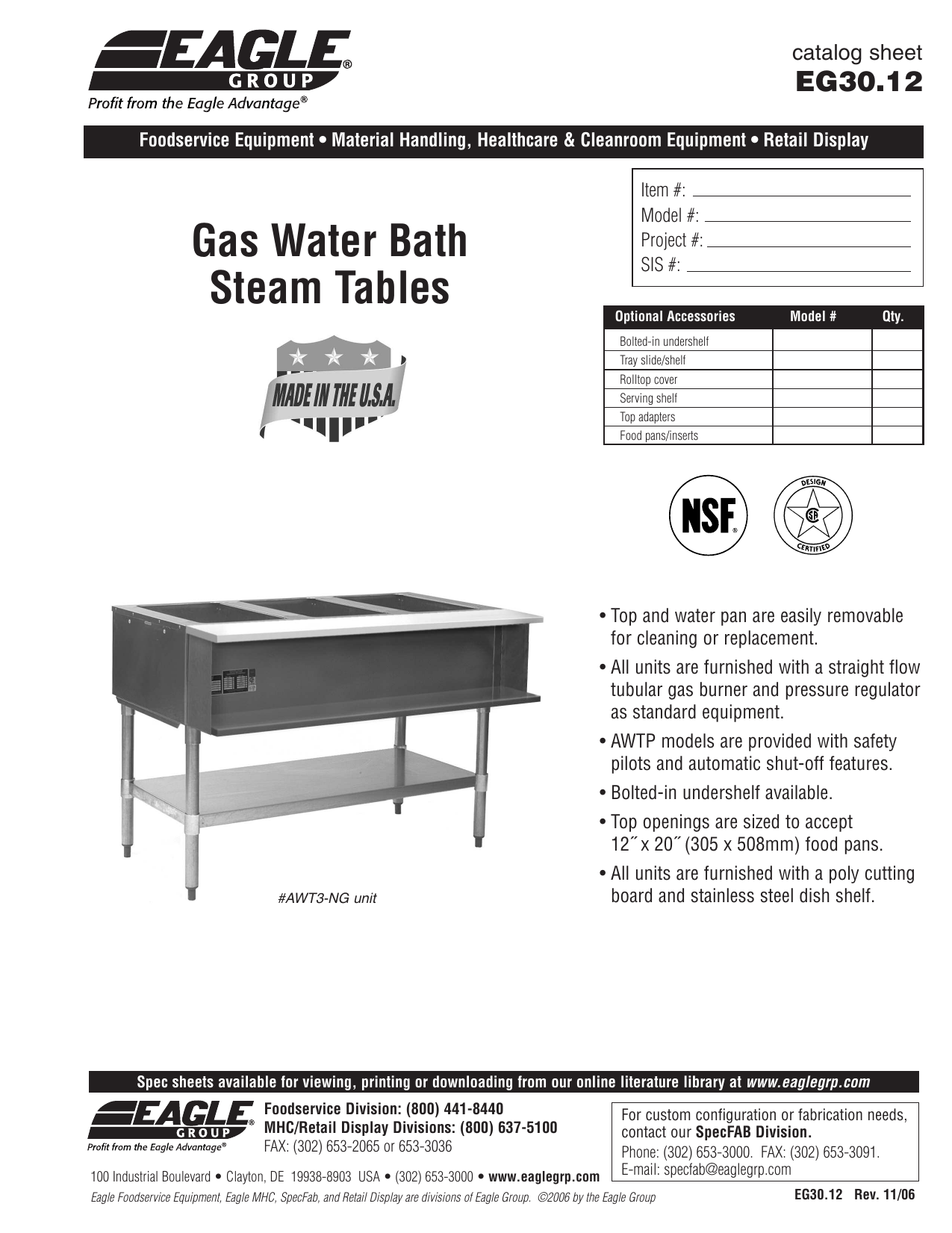 Gas Water Bath Steam Tables