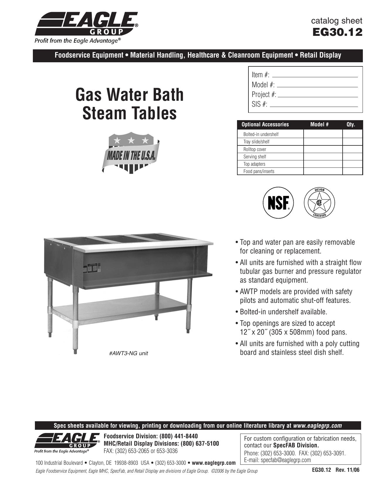 Gas Water Bath Steam Tables - Eagle group steam table