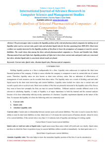 Liquidity Analysis of Selected Pharmaceutical