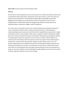 Paper Title: Socio-Economics of Urban Heritage in India Abstract
