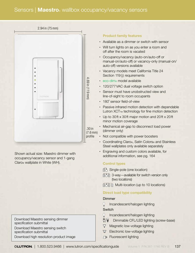Maestro Wallbox Occupancy Vacancy Sensors Av Iq Double Switch Wiring Diagram Lutron