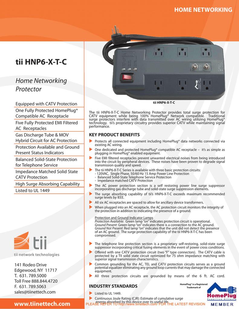 Tii Hnp6 Xtc Technologies Inc Ac Surge Protector Wiring