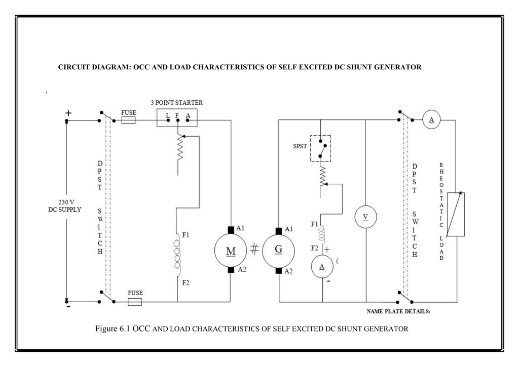Dc Generator Circuit Diagram | Circuit Diagram Occ And Load Characteristics Of