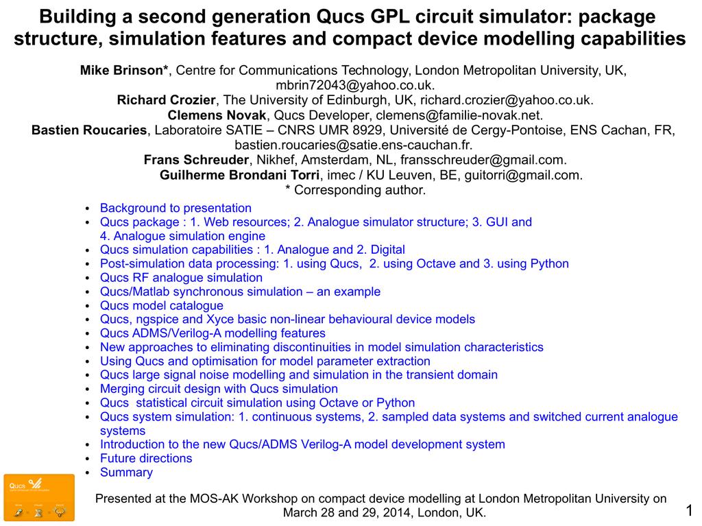 Building a second generation Qucs GPL circuit simulator - Mos-AK