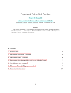 Properties of Positive Real Functions - CCRMA