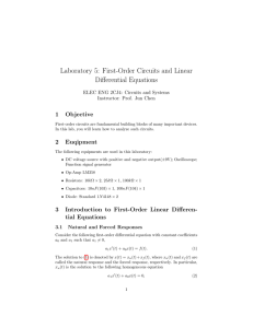 Laboratory 5: First-Order Circuits and Linear Differential Equations