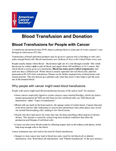 Blood Transfusion and Donation