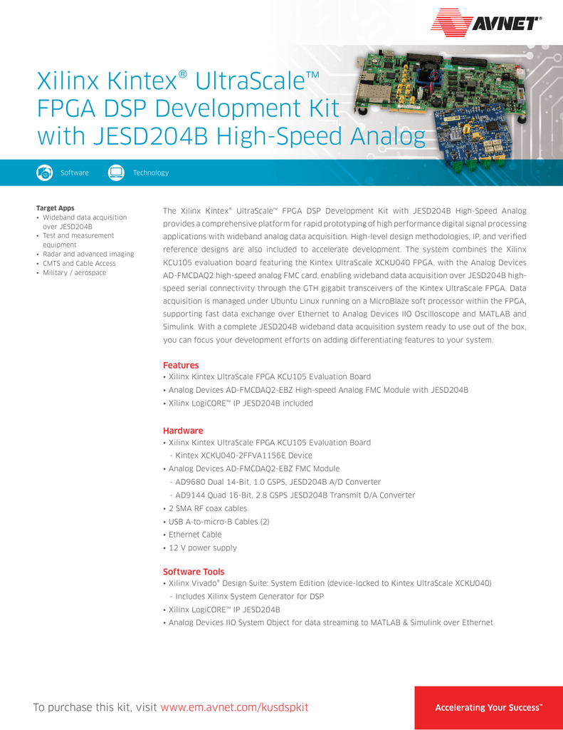 Xilinx Kintex® UltraScale™ FPGA DSP Development Kit with
