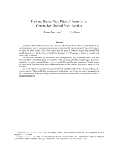 Pure and Bayes-Nash Price of Anarchy for Generalized Second
