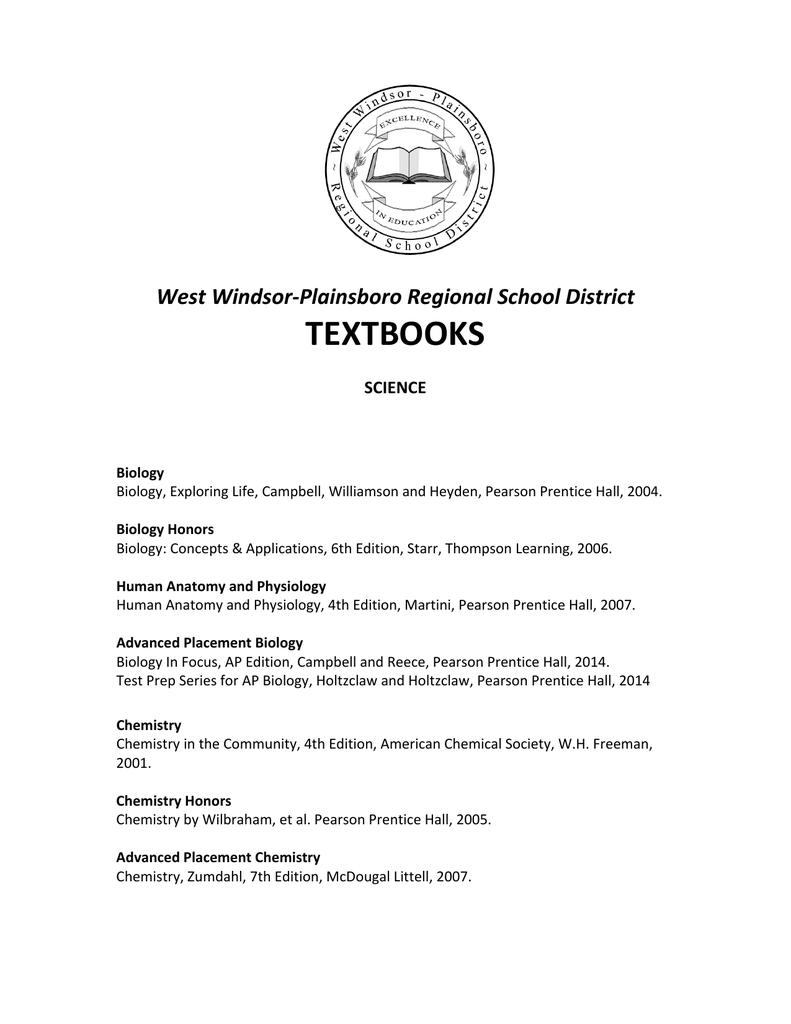 textbooks - West Windsor-Plainsboro Regional School District