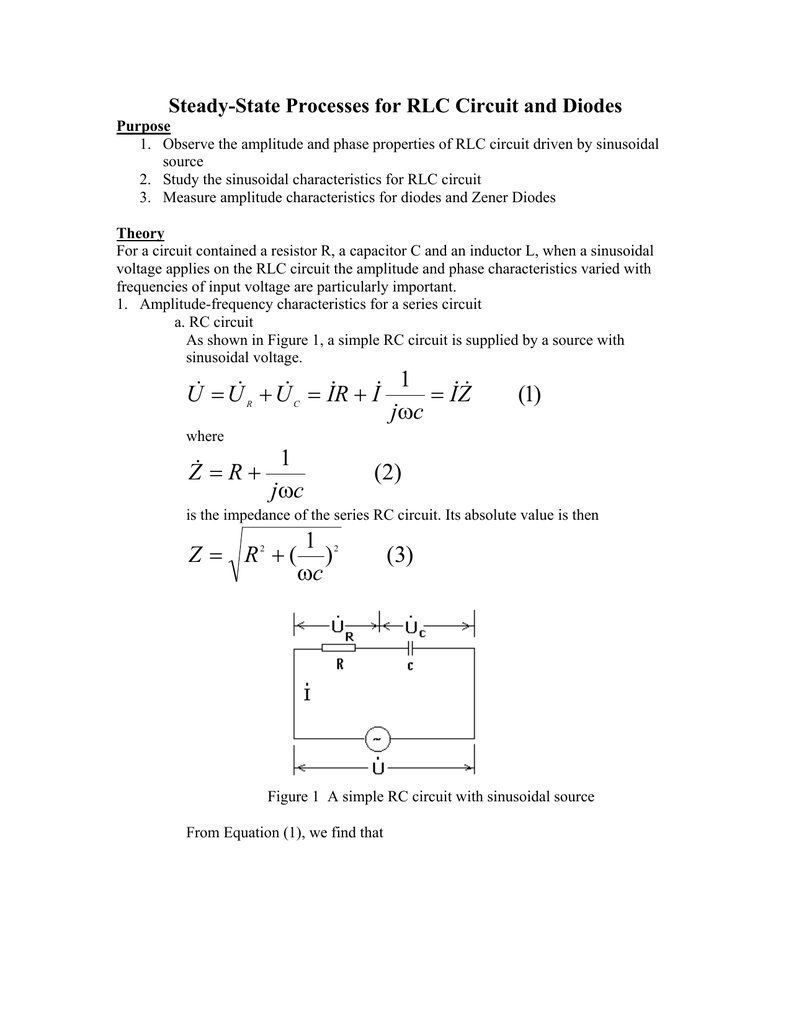 Steady State Process For Rlc Circuit And Diodes With