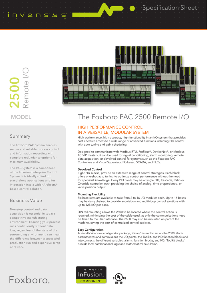 Foxboro PAC 2500 Remote I/O Data Sheet