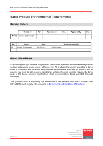 Barco environmental requirements 2013