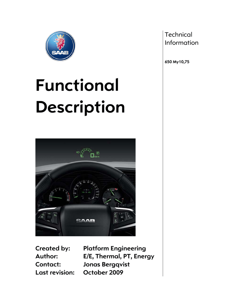 Technical details and functional description Saab 9-5NG