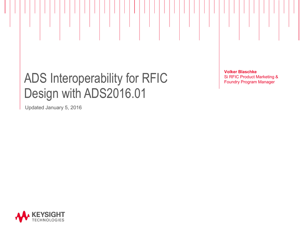 ADS Interoperability for RFIC Design with ADS 2016 01