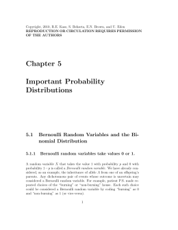 Chapter 5 Important Probability Distributions - Full