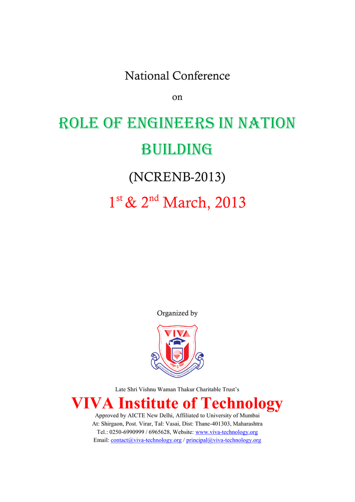 Role Of Engineers In Nation Building Viva Institute Of Technology
