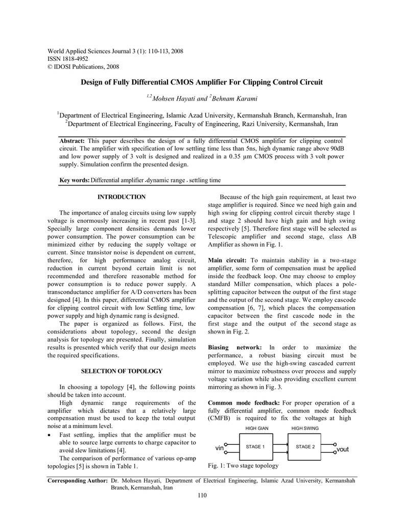 Design of Fully Differential CMOS Amplifier For Clipping Control