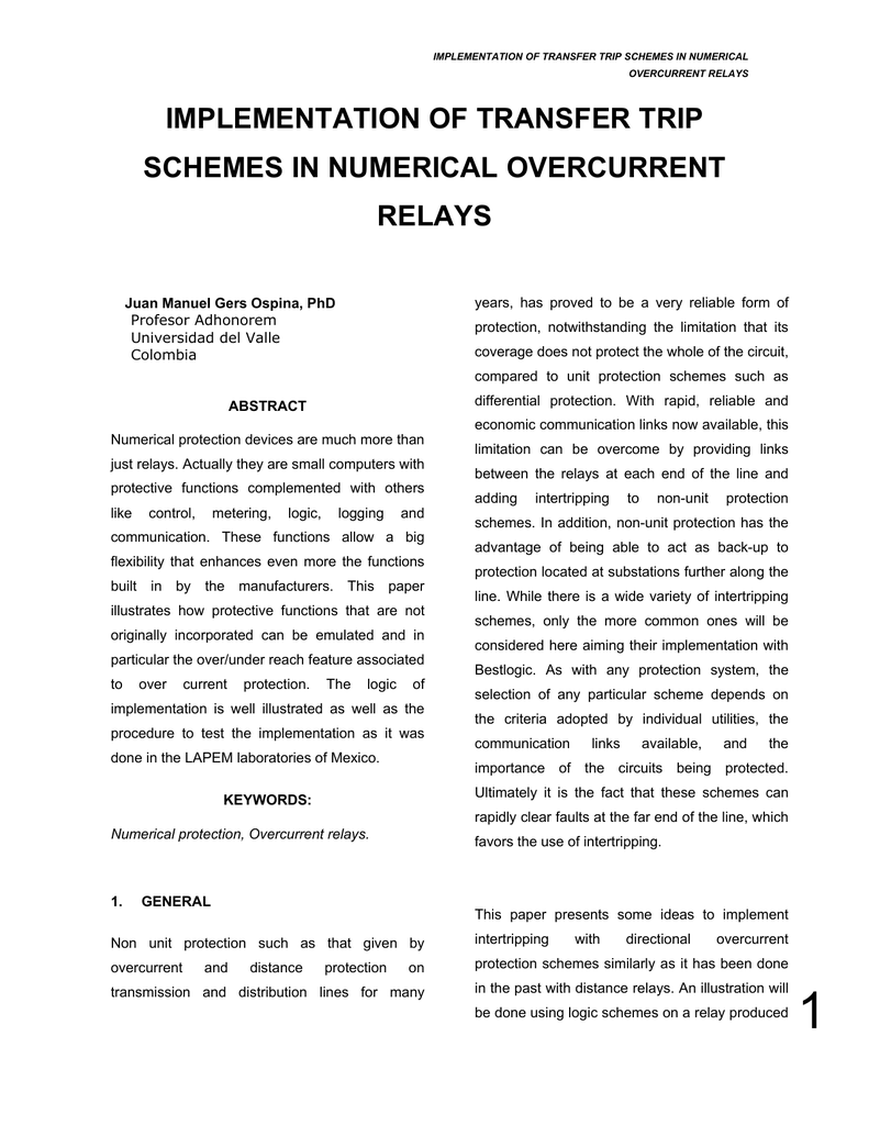implementation of transfer trip schemes in numerical overcurrent