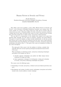 Human Factors in Security and Privacy