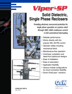Solid Dielectric, Single Phase Reclosers