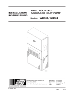 Models: WH301, WH361 WALL MOUNTED PACKAGED HEAT