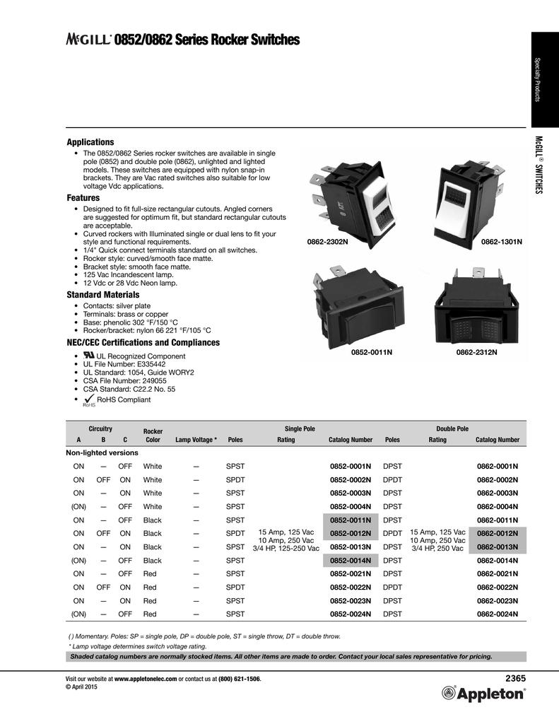 McGill 0852 0862 Series Rocker Switches