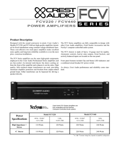 FCV220 / FCV440 POWER AMPLIFIERS
