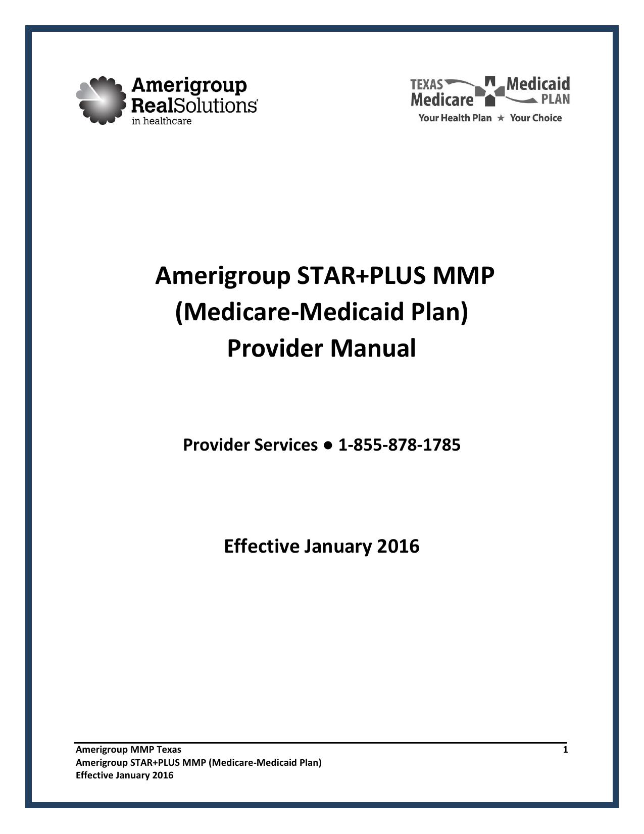 Amerigroup STAR+PLUS MMP (Medicare