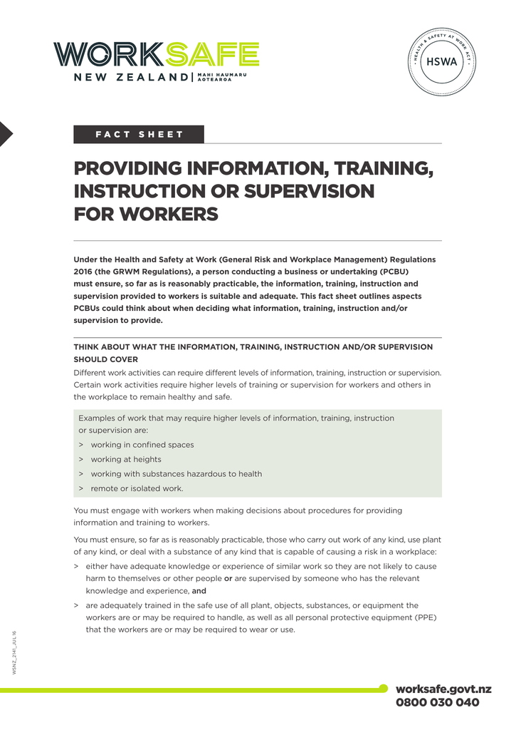 Providing Information Training Instruction Or You can also view documents detailing any changes made to the regulations following. providing information training