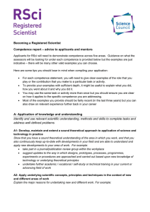 Guidance for RSci competence report