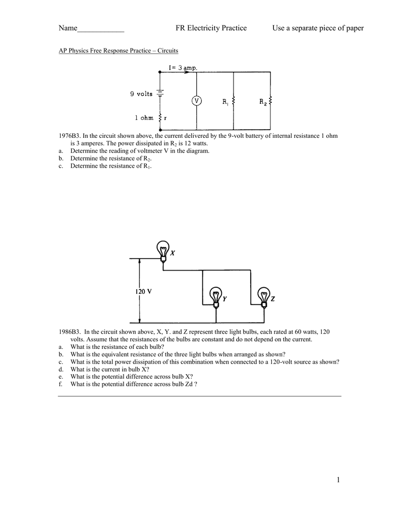 Name Fr Electricity Practice Use A Separate Piece Of Electric Circuits Resistors In Series And Parallel Free Physics