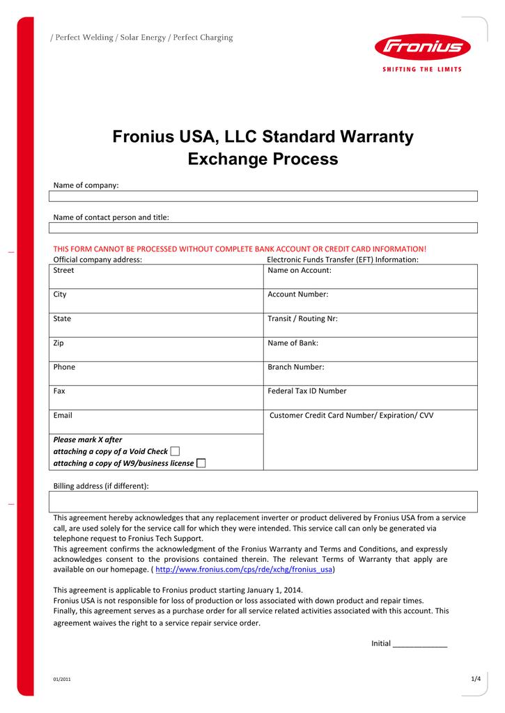 Fronius USA, LLC Standard Warranty Exchange Process