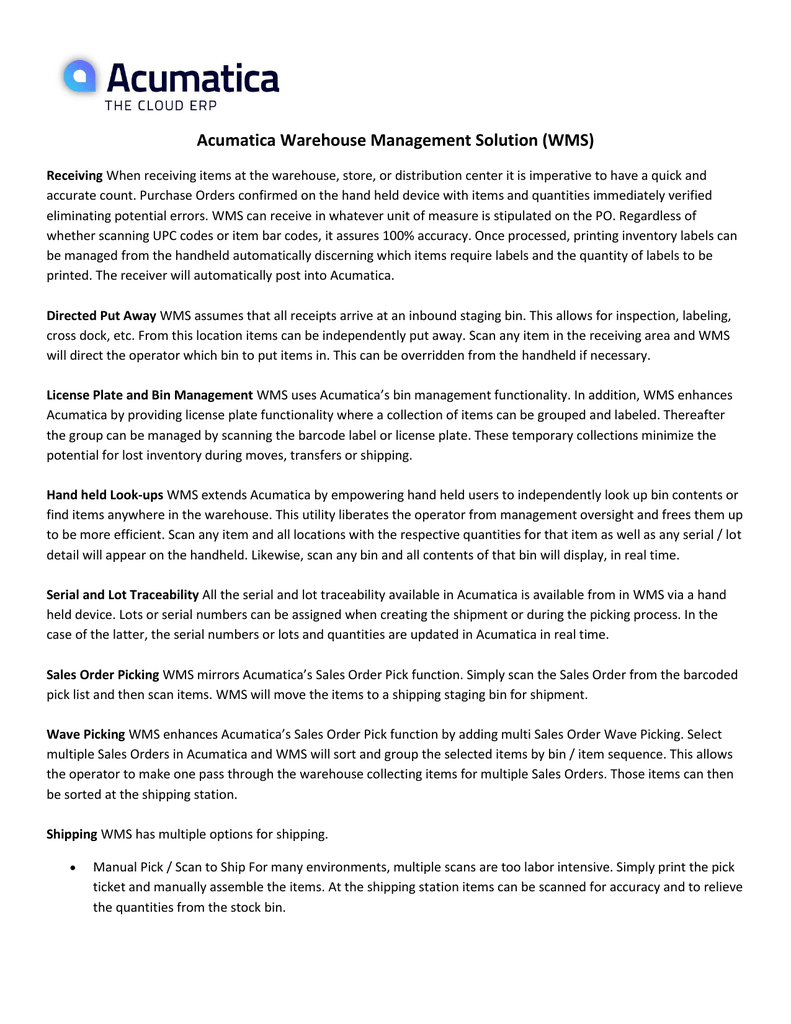 Acumatica Warehouse Management Solution (WMS)