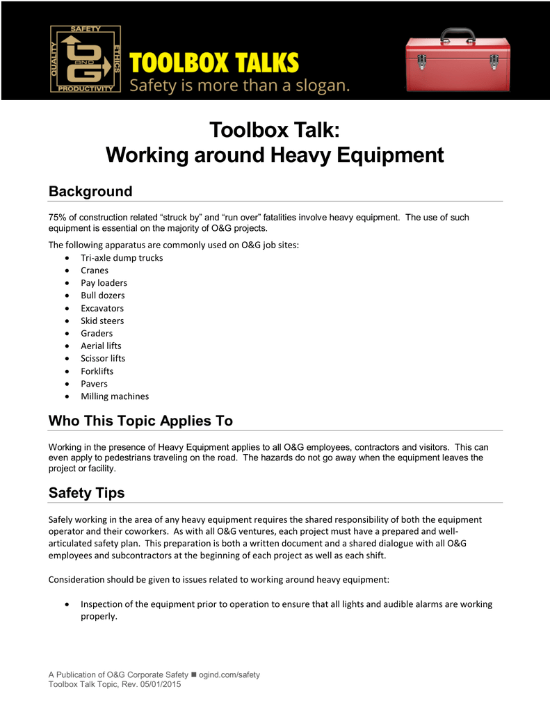 Toolbox Talk Working around Heavy Equipment