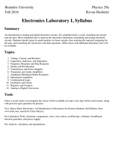 Physics 29A, Electronics Laboratory I, Syllabus