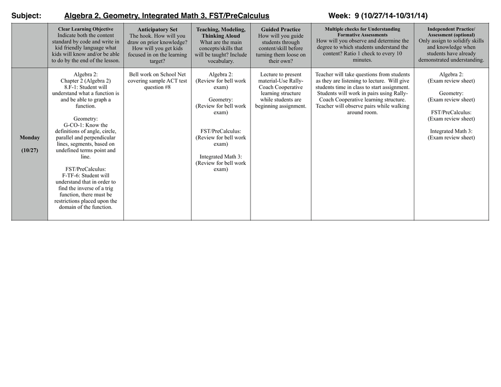 Integrated Math 2 Review