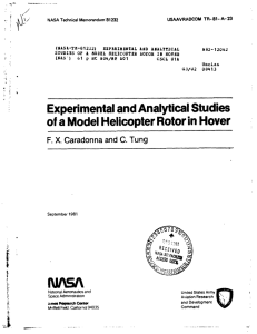 Experimental and Analytical Studies of a Model Helicopter Rotor in
