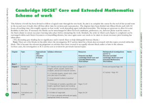 Cambridge IGCSE® Core and Extended Mathematics Scheme of work