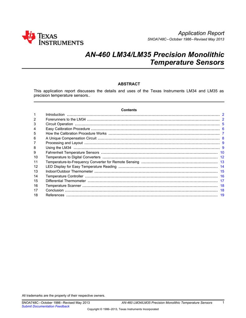 An 460 Lm34 Lm35 Precision Monolithic Temperature Sensors Sensing Circuit