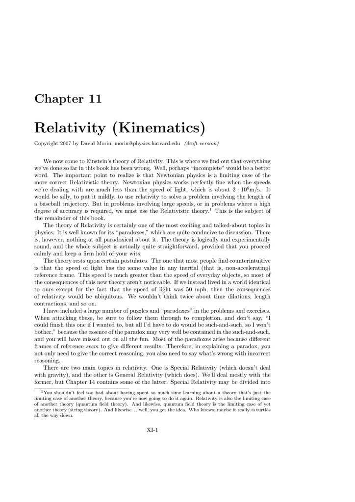 Relativity (Kinematics)