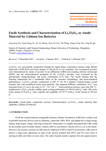 Facile Synthesis and Characterization of Li4Ti5O12 as Anode