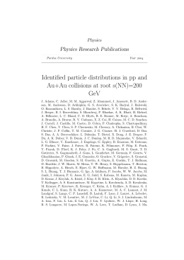 Identified particle distributions in pp and Au+Au - Purdue e-Pubs