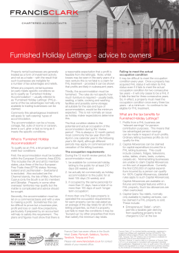 Furnished Holiday Lettings - advice to owners