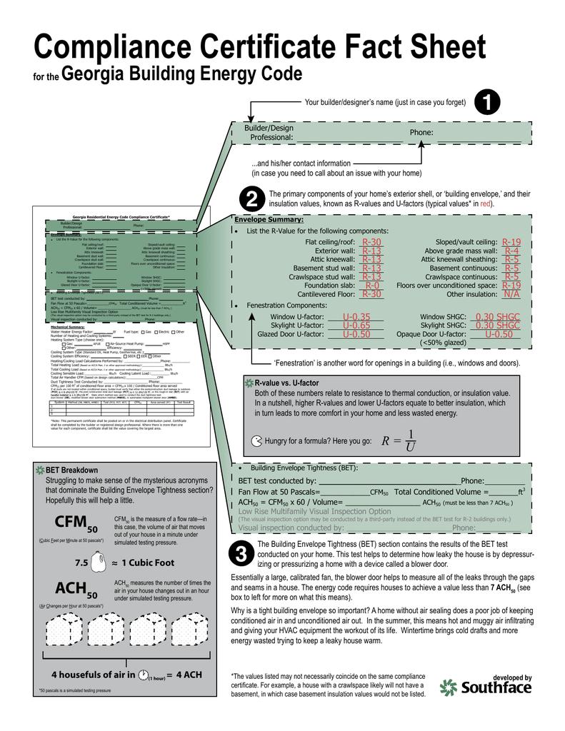 certificate compliance fact sheet code energy building