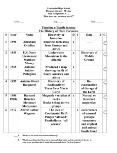 Timeline of Earth Science The History of Plate Tectonics # Year