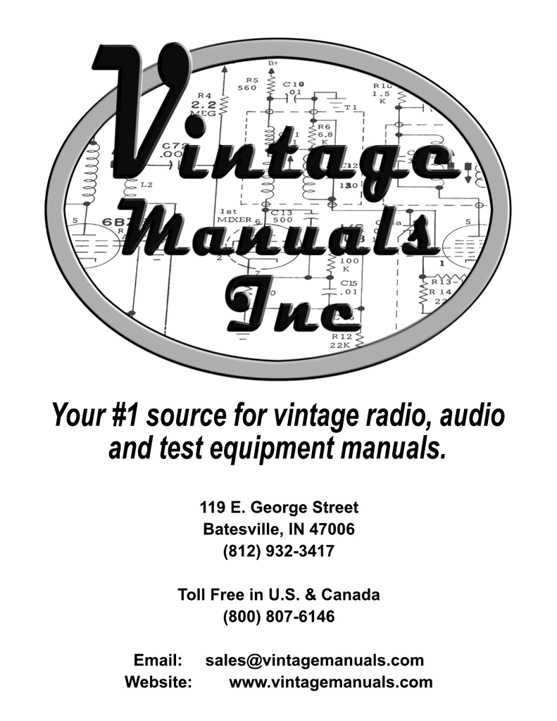 Notice - Vintage Manuals on