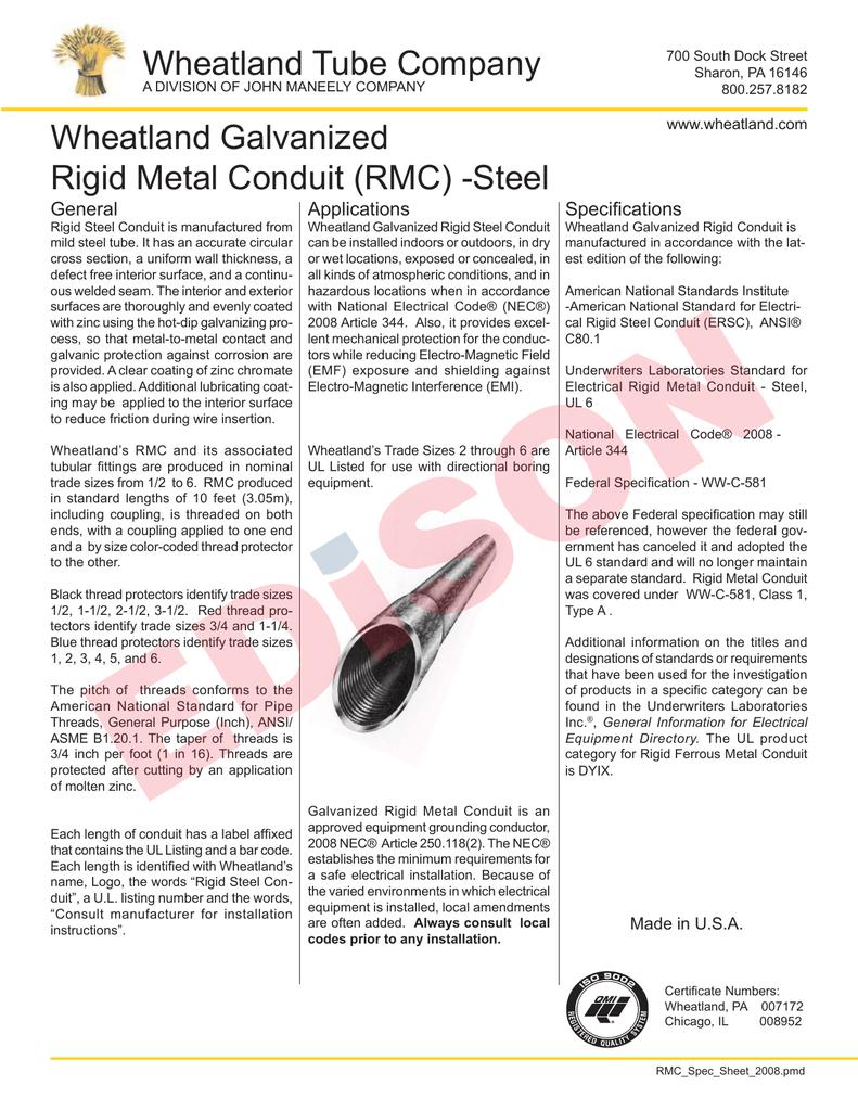 Wheatland Tube Company Galvanized Rigid Ul Listed Electrical Wiring Conduit