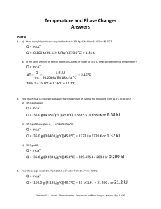 Temperature and Phase Changes Answers